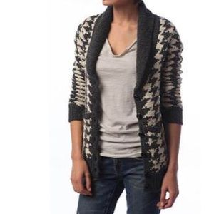 Silence & Noise Houndstooth Shawl Collar Cardigan